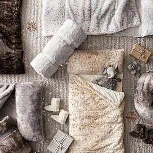 Indigo Faux Fur Sleeping Bag with Hood